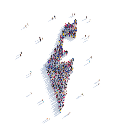 israel people: Large and creative group of people gathered together in the form of a map Israel, a map of the world. 3D illustration, isolated against a white background. 3D-rendering. Stock Photo