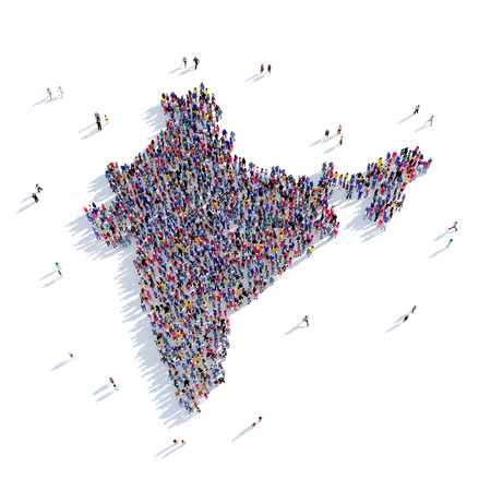 Large and creative group of people gathered together in the form of a map India, a map of the world. 3D illustration, isolated against a white background. 3D-rendering.
