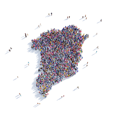sociologia: Large and creative group of people gathered together in the form of a map Greenland, a map of the world. 3D illustration, isolated against a white background. 3D-rendering. Foto de archivo