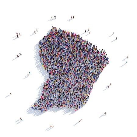 personas reunidas: Grande y creativa grupo de personas se reunieron en la forma de un mapa de la Guayana francesa, un mapa del mundo. Ilustración 3D, aislado contra un fondo blanco. 3D-prestación.