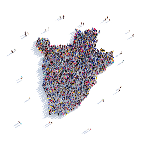 Large and creative group of people gathered together in the form of a map Burundi, a map of the world. 3D illustration, isolated against a white background. 3D-rendering. Stock Photo