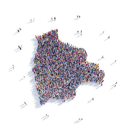 mapa de bolivia: Grande y creativa grupo de personas se reunieron en la forma de un mapa de Bolivia, un mapa del mundo. Ilustración 3D, aislado contra un fondo blanco. 3D-prestación.