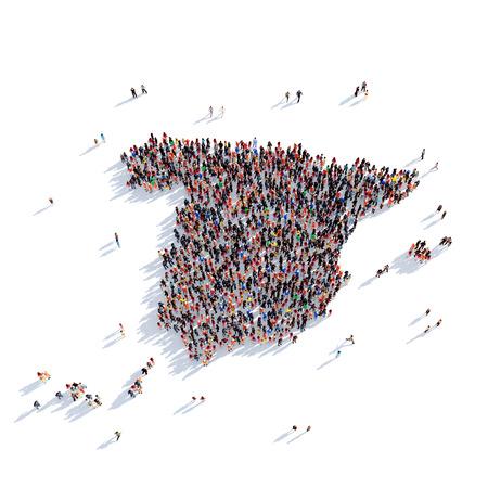 人々 の大規模なグループは、地図スペイン、世界地図の形で一緒に集まった。3 D の図では、白い背景に分離されました。3 D レンダリング。