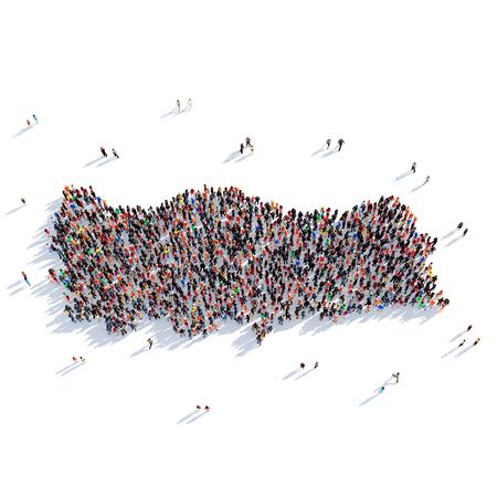 人々 の大規模なグループは、地図トルコ、世界地図の形で一緒に集まった。3 D の図では、白い背景に分離されました。3 D レンダリング。