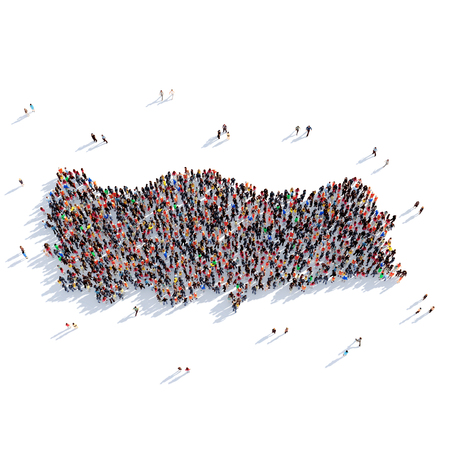 Large and creative group of people gathered together in the form of a map Turkey , a map of the world. 3D illustration, isolated against a white background. 3D-rendering.
