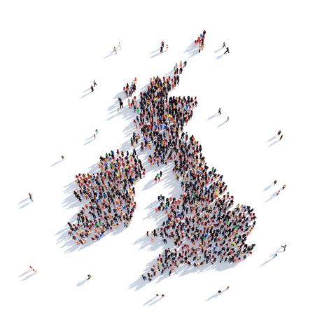 大而富有創意的人聚集在一起,以英國地圖的形式映射世界。 3D圖,孤立白色背景。 3D渲染。