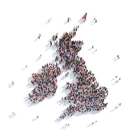 Large and creative group of people gathered together in the form of a map United Kingdom, a map of the world. 3D illustration, isolated against a white background. 3D-rendering. Stock Photo
