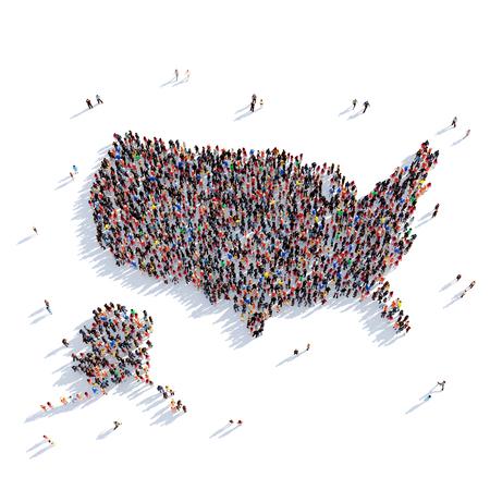 地図アメリカ合衆国、世界地図の形で人々 の大規模なグループが集まった。3 D の図では、白い背景に分離されました。3 D レンダリング。