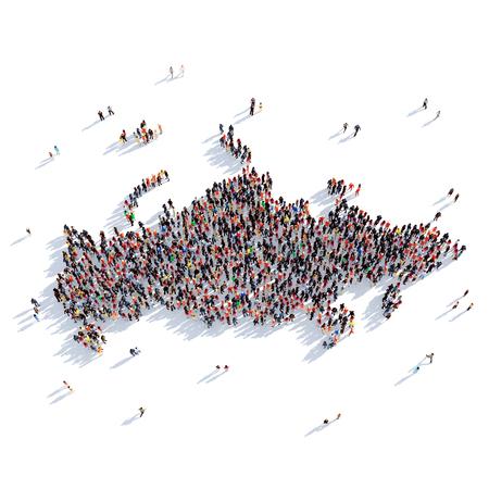 personas reunidas: Grupo grande y creativo de personas se reunieron en forma de un mapa de Rusia, un mapa del mundo. Ilustración 3D, aislado contra un fondo blanco. Representación 3D.