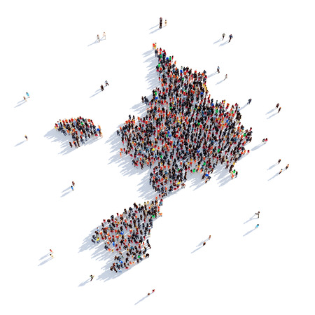 sark: Large and creative group of people gathered together in the form of a map Sark , a map of the world. 3D illustration, isolated against a white background. 3D-rendering. Stock Photo