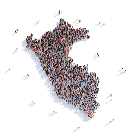 mapa del peru: Grande y creativa grupo de personas se reunieron en la forma de un mapa de Perú, un mapa del mundo. Ilustración 3D, aislado contra un fondo blanco. 3D-prestación. Foto de archivo