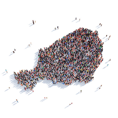 personas reunidas: Large and creative group of people gathered together in the form of a map Niger , a map of the world. 3D illustration, isolated against a white background. 3D-rendering.