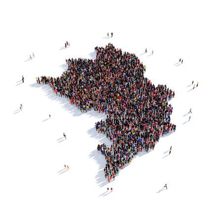 personas reunidas: Grupo de personas grande y creativo se reunieron en la forma de un mapa de Nagorno-Karabakh, un mapa del mundo. Ilustración 3D, aislada contra un fondo blanco. Representación 3D.