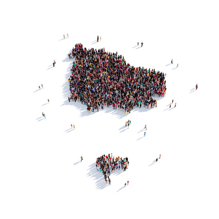 sociologia: Large and creative group of people gathered together in the form of a map Norfolk Island, a map of the world. 3D illustration, isolated against a white background. 3D-rendering.