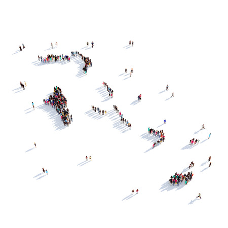 personas reunidas: Un grupo grande y creativo de personas se reunió en la forma de un mapa de Bahamas, un mapa del mundo. Ilustración 3D, aislado contra un fondo blanco. Representación 3D. Foto de archivo