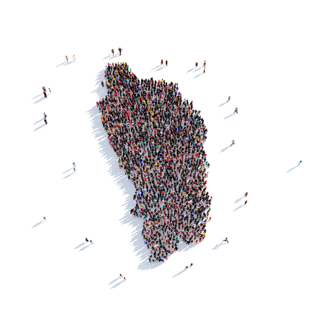 Large and creative group of people gathered together in the form of a map Dominica, a map of the world. 3D illustration, isolated against a white background. 3D-rendering.