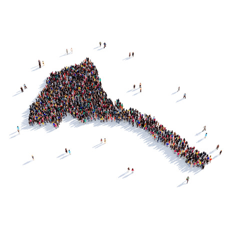 Large and creative group of people gathered together in the form of a map Eritrea, a map of the world. 3D illustration, isolated against a white background. 3D-rendering.