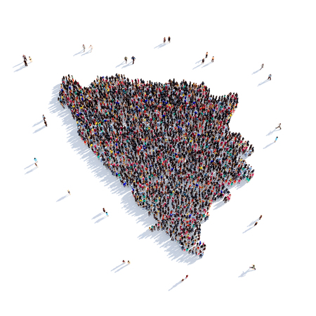 Large and creative group of people gathered together in the form of a map Federation of Bosnia and Herzegovina, a map of the world. 3D illustration, isolated against a white background. 3D-rendering. Stock Photo