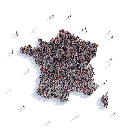 Grote en creatieve groep mensen bijeen in de vorm van een kaart Frankrijk, een kaart van de wereld. 3D illustratie, geïsoleerd tegen een witte achtergrond. 3D-rendering.