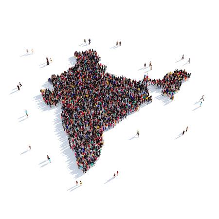 Grote en creatieve groep mensen bijeen in de vorm van een kaart India, een kaart van de wereld. 3D illustratie, geïsoleerd tegen een witte achtergrond. 3D-rendering. Stockfoto