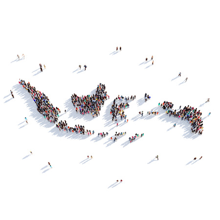 地図インドネシア、世界地図の形で人々 の大規模なグループが集まった。3 D の図では、白い背景に分離されました。3 D レンダリング。