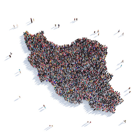 Large and creative group of people gathered together in the form of a map Iran, a map of the world. 3D illustration, isolated against a white background. 3D-rendering.