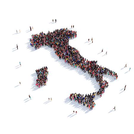 Large and creative group of people gathered together in the form of a map Italy, a map of the world. 3D illustration, isolated against a white background. 3D-rendering.