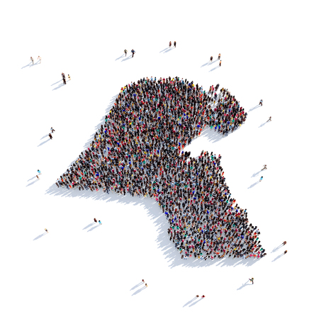 personas reunidas: Large and creative group of people gathered together in the form of a map Kuwait, a map of the world. 3D illustration, isolated against a white background. 3D-rendering.