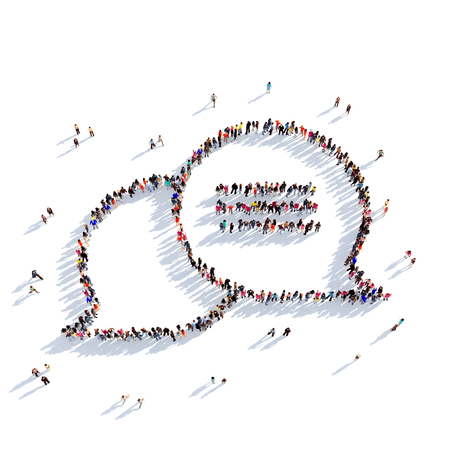 bubble background: Large and creative group of people gathered together in the form of a bubble chat, message 3D illustration, isolated against a white background. 3D-rendering.