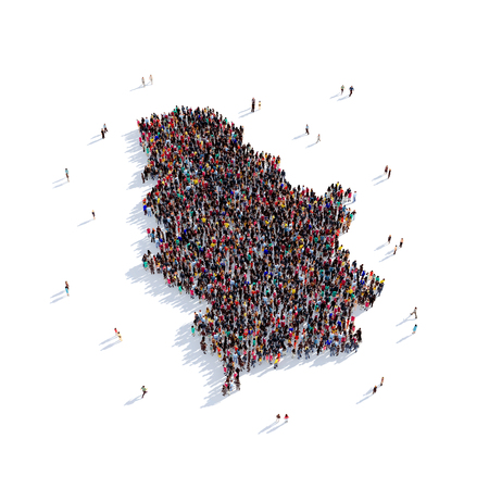 Large and creative group of people gathered together in the form of a map Serbia , a map of the world. 3D illustration, isolated against a white background. 3D-rendering.