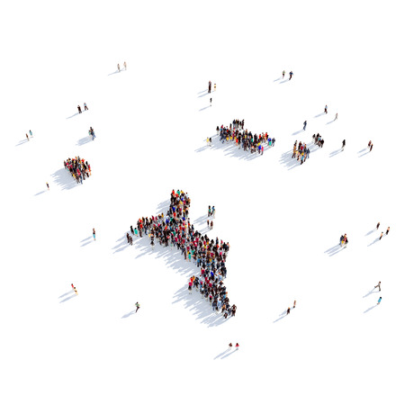 personas reunidas: Large and creative group of people gathered together in the form of a map Seychelles, a map of the world. 3D illustration, isolated against a white background. 3D-rendering. Foto de archivo
