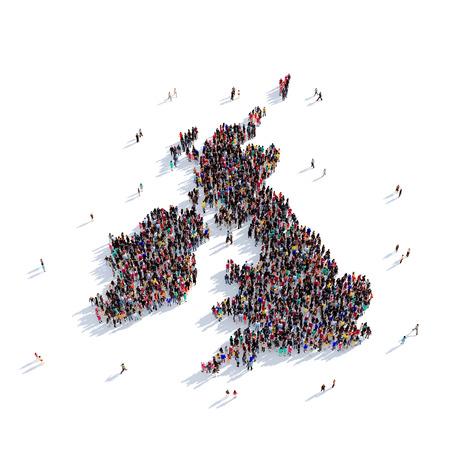 Grote en creatieve groep mensen bijeen in de vorm van een kaart Verenigd Koninkrijk, een kaart van de wereld. 3D illustratie, geïsoleerd tegen een witte achtergrond. 3D-rendering.