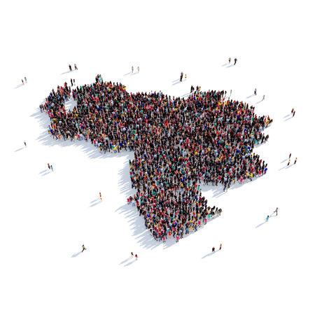 mapa de venezuela: Grande y creativa grupo de personas se reunieron en la forma de un mapa de un mapa del mundo Venezuela,. Ilustración 3D, aislado contra un fondo blanco. 3D-prestación.