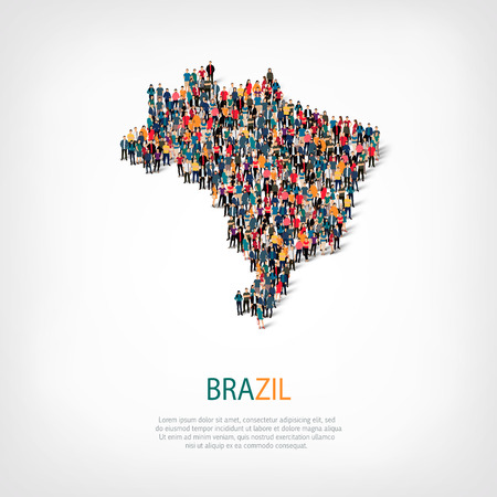 Isometric set of styles, people, map of brazil , country, web infographics concept of crowded space, flat 3d. Crowd point group forming a predetermined shape. Creative people. Vector illustration. Photo vector.3D illustration. White background . Isolated. Stock Photo