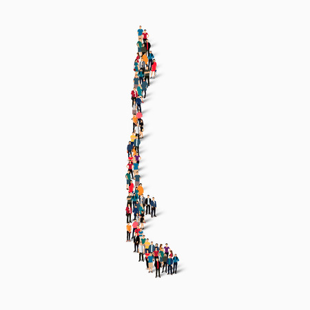 Isometric set of styles, people, map of CHILE , country, web infographics concept of crowded space, flat 3d. Crowd point group forming a predetermined shape. Creative people. Vector illustration. Photo vector.3D illustration. White background . Isolated.