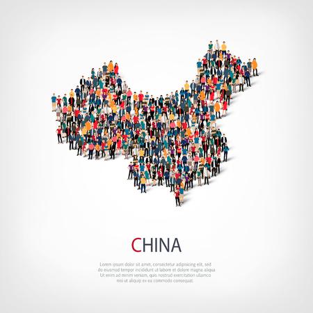 スタイル、人々 の中国の国、混雑した空間、フラット 3 d の web インフォ グラフィック概念地図、等尺性のセットです。群衆ポイント グループ所定