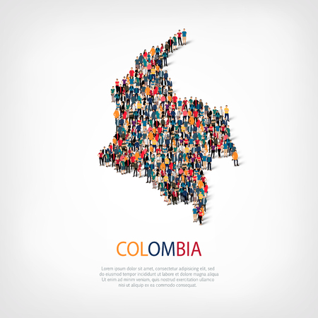 Isometric set of styles, people, map of colombia , country, web infographics concept of crowded space, flat 3d. Crowd point group forming a predetermined shape. Creative people. Vector illustration. Photo vector.3D illustration. White background . Isolate Illustration