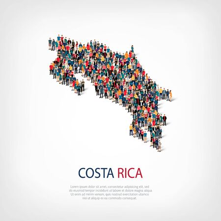 Isometric set of styles, people, map of Costa Rica , country, web infographics concept of crowded space, flat 3d. Crowd point group forming a predetermined shape. Creative people. Vector illustration. Photo vector.3D illustration. White background . Isola Illustration