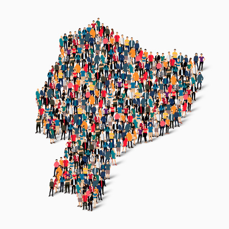 Isometric set of styles, people, map of Ecuador , country, web infographics concept of crowded space, flat 3d. Crowd point group forming a predetermined shape. Creative people. Vector illustration. Photo vector.3D illustration. White background . Isolated Stock Illustratie