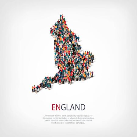 Isometric set of styles, people, map of England , country, web infographics concept of crowded space, flat 3d. Crowd point group forming a predetermined shape. Creative people. Vector illustration. Photo vector.3D illustration. White background . Isolated Illustration