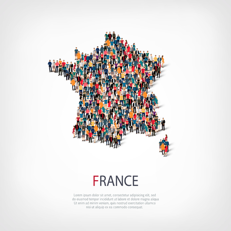 Isometric set of styles, people, map of France , country, web infographics concept of crowded space, flat 3d. Crowd point group forming a predetermined shape. Creative people. Vector illustration. Photo vector.3D illustration. White background . Isolated.