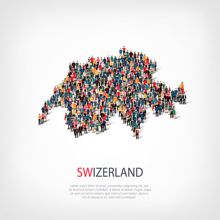 Isometric set of styles, people, map of Swizerland , country, web infographics concept of crowded space, flat 3d. Crowd point group forming a predetermined shape. Creative people. Vector illustration. Photo vector.3D illustration. White background . Isola