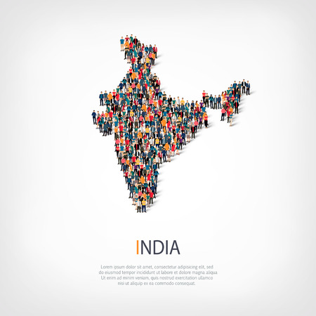 Isometric set of styles, people, map of India , country, web infographics concept of crowded space, flat 3d. Crowd point group forming a predetermined shape. Creative people. Vector illustration. Photo vector.3D illustration. White background . Isolated. 向量圖像