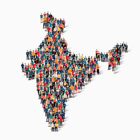 スタイル、人々、インド、カントリー、混雑した空間、フラット 3 d の web インフォ グラフィックの概念の地図の等尺性のセットです。群衆ポイント