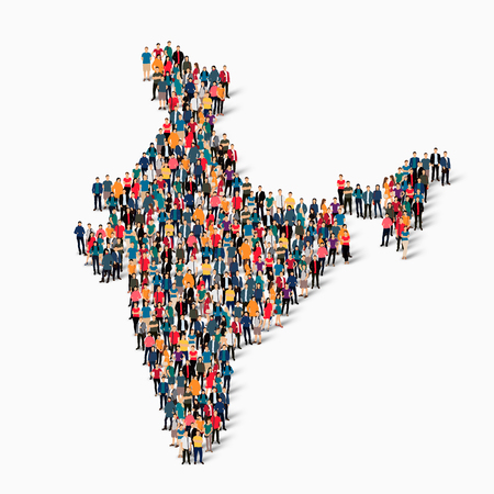 Isometric set of styles, people, map of India , country, web infographics concept of crowded space, flat 3d. Crowd point group forming a predetermined shape. Creative people. Vector illustration. Photo vector.3D illustration. White background . Isolated. Ilustração