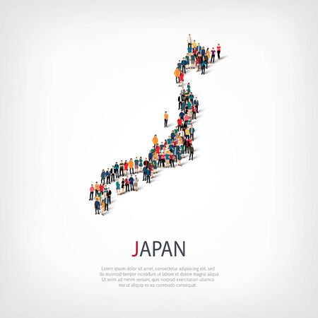 Isometric set of styles, people, map of Japan , country, web infographics concept of crowded space, flat 3d. Crowd point group forming a predetermined shape. Creative people. Vector illustration. Photo vector.3D illustration. White background . Isolated.