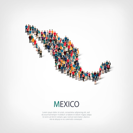 Isometric set of styles, people, map of Mexico , country, web infographics concept of crowded space, flat 3d. Crowd point group forming a predetermined shape. Creative people. Vector illustration. Photo vector.3D illustration. White background . Isolated.