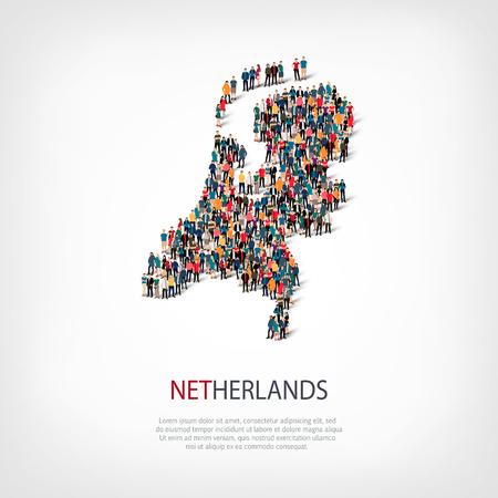 Jeu isométrique de styles, les gens, la carte des Pays-Bas, pays, web infographies concept d'espace encombré, 3d plat. Foule groupe de points formant une forme prédéterminée. Les personnes créatives. Vector illustration. Photo vector.3D illustration. Fond blanc . Isol Banque d'images - 66569915