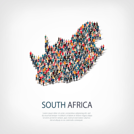 Isometric set of styles, people, map of South Africa , country, web infographics concept of crowded space, flat 3d. Crowd point group forming a predetermined shape. Creative people. Vector illustration. Photo vector.3D illustration. White background . Iso