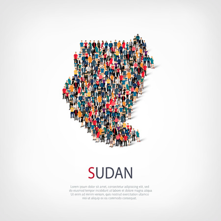 Isometric set of styles, people, map of Sudan , country, web infographics concept of crowded space, flat 3d. Crowd point group forming a predetermined shape. Creative people. Vector illustration. Photo vector.3D illustration. White background . Isolated. Illustration